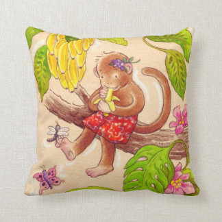 Monkey and Dragonfly Jungle Friends Throw Pillow