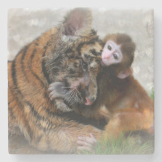 Monkey and Tiger Stone Coaster