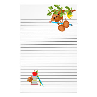 Monkey Apple Books and Pencils Stationery Design