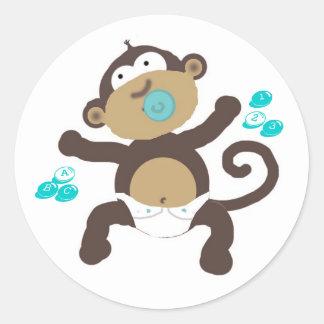 Monkey baby boy abc's & 123's round sticker