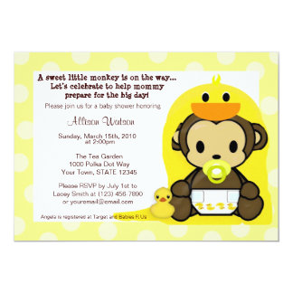 Monkey Baby Duckie Bath Shower Invitation