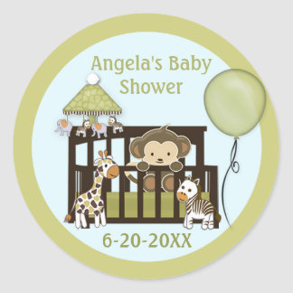 Monkey Baby Shower blank labels/seals CA-Blue #01 Classic Round Sticker