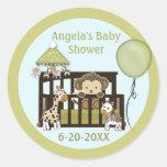 Monkey Baby Shower blank labels/seals CA-Blue #01 Round Stickers