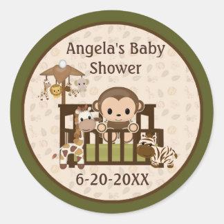 Monkey Baby Shower blank labels/seals NALI NJM #01 Round Sticker