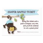 Monkey Baby Shower Diaper Raffle Ticket Insert Business Card Template