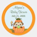 MONKEY Baby Shower Fall Pumpkin BOY round seal Round Sticker