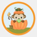 MONKEY Baby Shower Fall Pumpkin BOY seal round Round Sticker