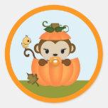 MONKEY Baby Shower Fall Pumpkin GIRL seal round Round Sticker