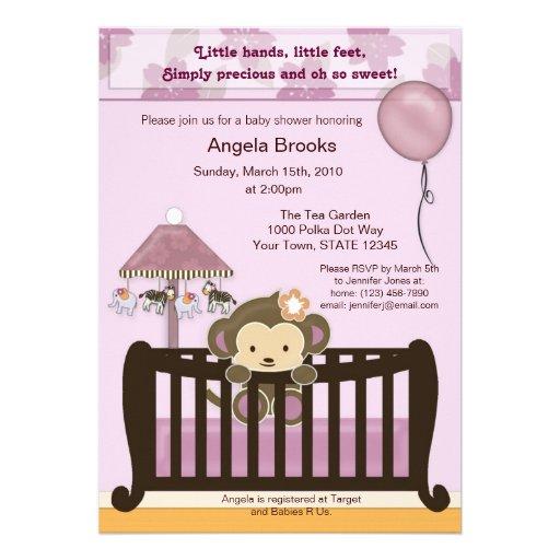 Monkey Baby Shower Invitation CJ ORCHID