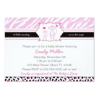 Monkey Baby Shower Invitation Girl Pink