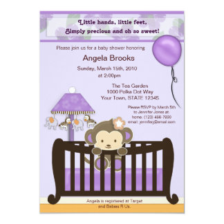 Monkey Baby Shower Invitation Purple
