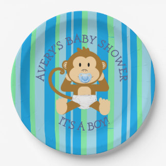 Monkey Baby Shower Its a Boy Paper Plates