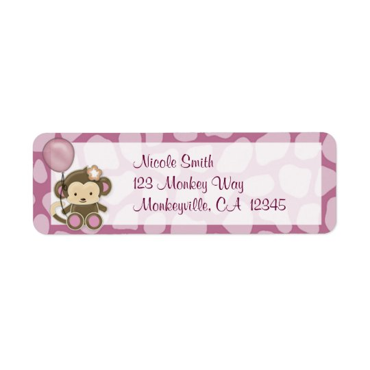 Monkey Baby Shower Return Address Label ORCHID