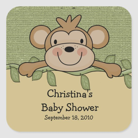 Monkey Baby Shower Square Sticker