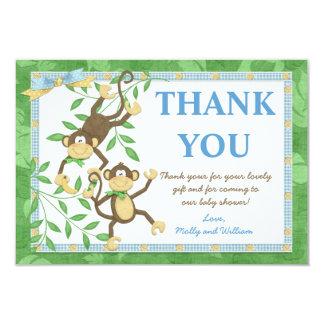 "Monkey Baby Shower Thank You Card 3.5"" X 5"" Invitation Card"