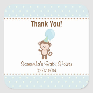 Monkey Baby Shower Thank You Stickers (Blue)