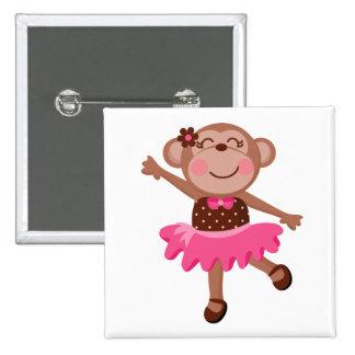 Monkey Ballerina 2 Inch Square Button
