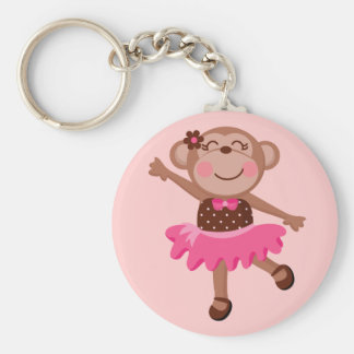 Monkey Ballerina Basic Round Button Keychain