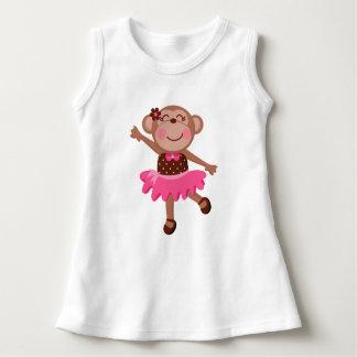 Monkey Ballerina Girly Baby Sleeveless Dress T-shirt