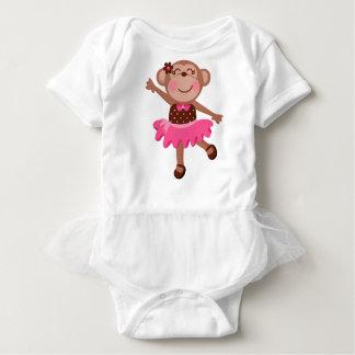 Monkey Ballerina Girly Baby Tutu Bodysuit