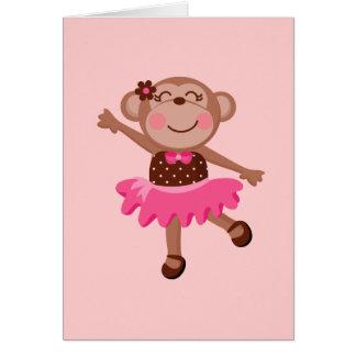 Monkey Ballerina Greeting Card
