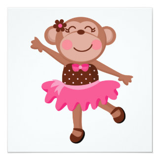 Monkey Ballerina Personalized Invite