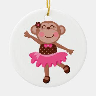 Monkey Ballerina Round Ceramic Ornament