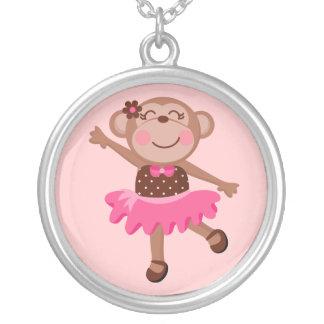 Monkey Ballerina Round Pendant Necklace