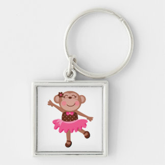 Monkey Ballerina Silver-Colored Square Keychain