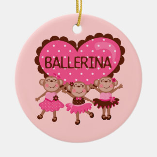 Monkey Ballet Double-Sided Ceramic Round Christmas Ornament