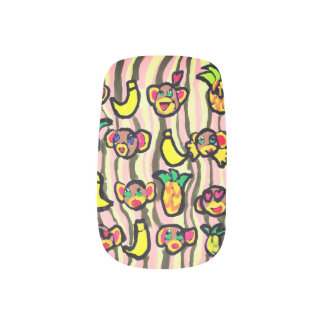 monkey banana pineapple minx nail art