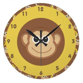 Monkey Bananas Large Clock