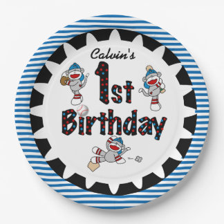 Monkey Baseball 1st Happy Birthday Paper Plates