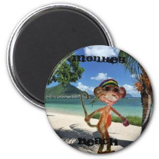 Monkey Beach Button 2 Inch Round Magnet