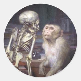 Monkey Before Skeleton Classic Round Sticker