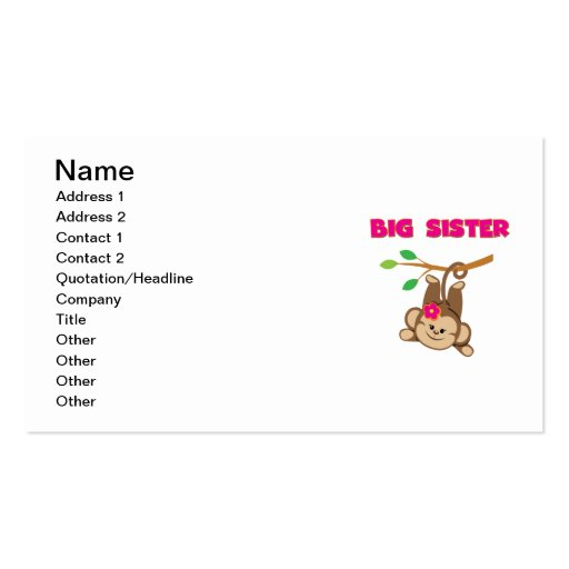 Monkey Big Sister Business Card Template