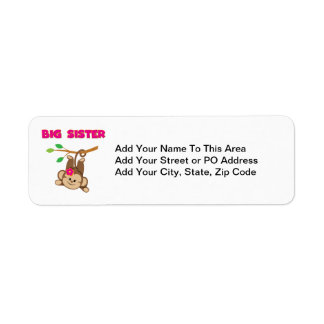 Monkey Big Sister Return Address Label