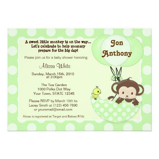 monkey birdie umbrella baby shower invitation 5 x 7 invitation ca