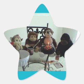 Monkey Birthday Cake Party Stickers
