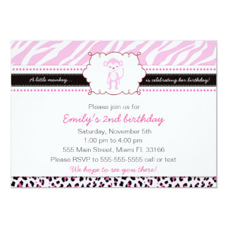 Monkey Birthday Invitation Girl Pink