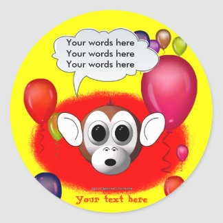 Monkey Birthday Party Classic Round Sticker
