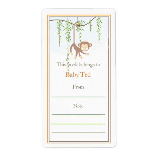 Monkey Bookplate Personalized Shipping Label