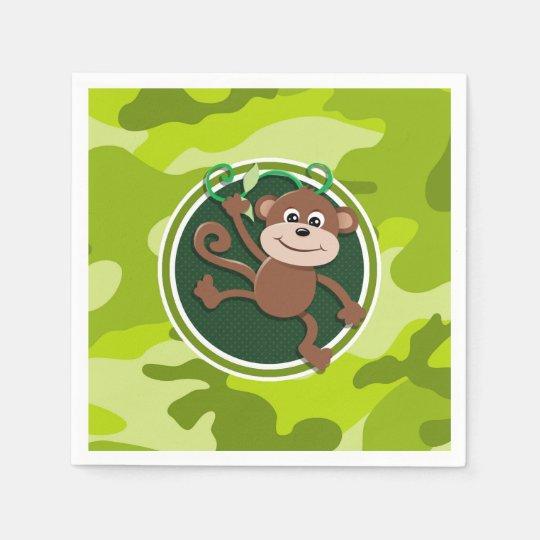 Monkey; bright green camo, camouflage disposable napkin