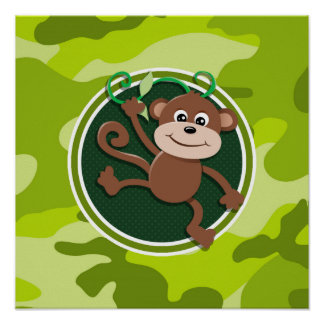 Monkey; bright green camo, camouflage print
