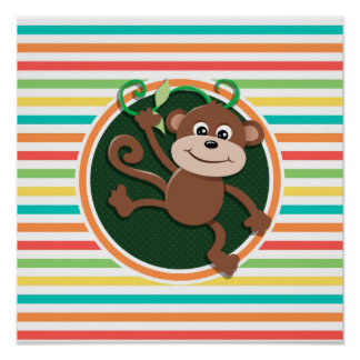 Monkey; Bright Rainbow Stripes Posters