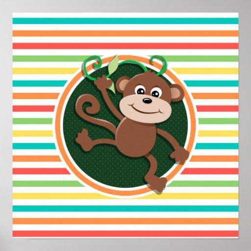 Monkey; Bright Rainbow Stripes Posters