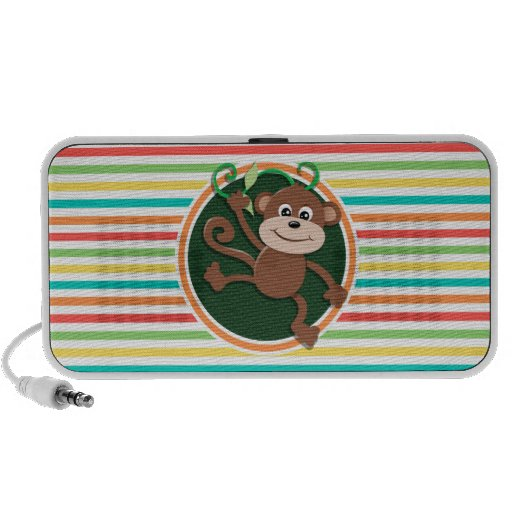 Monkey; Bright Rainbow Stripes PC Speakers
