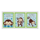 Monkey Bubbles Kids Bathroom Wall Art Print
