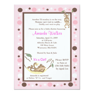 Monkey Business 4x5 Pink Dot Baby Shower Invite