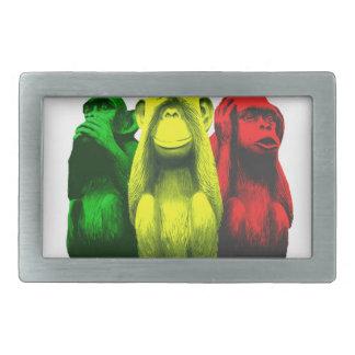 Monkey business rectangular belt buckle